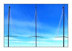 eins I zwei I drei I (christikren) Tags: three blue neusiedlersee segelboot christikren sky sail sailingboat mast austria österreich geometry lines blau panasonic linescurves