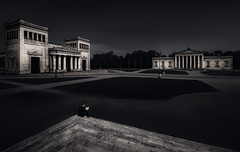 Kings Square (One_Penny) Tags: bayern deutschland germany münchen architecture bavaria canon6d city koenigsplatz munich photography town urban kingssquare square glyptothek classicarchitecture propyläen neoclassicism dark black blackandwhite bw people man reading longexposure ndfilter empty alone light processing fineart longshutterspeed retouching stairs staircase wideangle canonef1740mmf4lusm