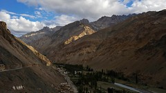 Late afternoon view of valley, route towards Photoksar, Eternal flames, from Wanla Monastery