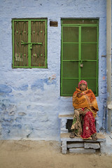 Lady with green doors (Ashmalikphotography) Tags: greendoor orange shawl colors colorsofindia incredibleindia jodhpur portrait peopleofindia travel travelphotography ashmalikphotography ashishshoots