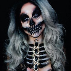 Beautiful Skull! By @twistinbangs (ineedhalloweenideas) Tags: halloween skull skeleton makeup make up ideas for 2017 happy night before christmas october 31 autumn fall spooky body paint art creepy scary horror pumpkin boo artist goth gothic