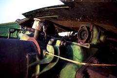 Static Artifacts - Green Engine 3 (Pics from the Bird Cage) Tags: zuikoautowf28135 fuji provia artifacts fujifilm fujichrome olympus om1 olympusom1 film e6 colorfilm colorslidefilm slidefilm fujichromeprovia100f sunset sunsetlight zuikoautow omsystem heavymachinery alberta ardrossanalberta ishootfilm 35mm classiccamera