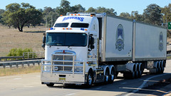Passing Bowning (1/6) (Jungle Jack Movements (ferroequinologist)) Tags: rowans griffith kenworth k200 sticky fingers fruithaul caboolture qld nsw maddens harden tumut haulage truck art iveco scania qube logistics bowning hume highway new south wales hp horsepower big rig haul freight cabover trucker drive transport carry delivery bulk lorry hgv wagon road nose semi trailer deliver cargo articulated vehicle load freighter ship move motor engine power teamster tractor prime mover diesel driver cab cabin loud beast wheel exhaust double b grunt