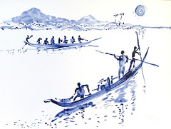 AFRICA TO THE NAKED 276 (eduard muntada) Tags: africa to the naked 276 watercolor river boats mountains simplicity blue purple africanpeople sun light