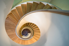 Taking the Stairs (McQuaide Photography) Tags: haarlem netherlands nederland holland dutch europe sony a7riii ilce7rm3 alpha mirrorless 1635mm sonyzeiss zeiss variotessar fullframe mcquaidephotography adobe photoshop lightroom handheld inside indoor interior building city shape form shapes stairs staircase spiral spiralstaircase wideangle modern new lookingdown downwards