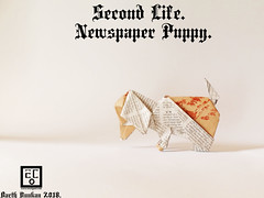 Second Life Newspaper Puppy - Barth Dunkan. (Magic Fingaz) Tags: anjing barthdunkan chien chó dog hond hund köpek origami paperfolding perro pies пас пес собака หมา 개 犬 狗