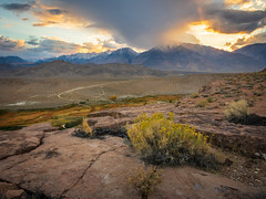 View from Chalk Bluff (dwblakey) Tags: hike landscape sunset bishop mountains evening rocks chalkbluff california owensvalley outside easternsierra hiking outdoors inyocounty volcanictableland sky desert unitedstates us