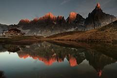 A Dolomites Sunset (aha42   tehaha) Tags: primierosanmartinodicastrozz trento italy primierosanmartinodicastrozza it cabin italia sunset mountain mountains lake reflection book