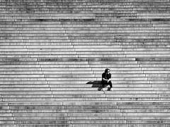 fourty stages (heinzkren) Tags: schwarzweis blackandwhite bw sw monochrome candid urban street streetphotography linz austria siege stufen stage girl woman people panasonic lumix urfahr arselectronica stairway lines geometry shadow treppe concrete beton innamoramento