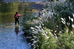 Fall Fishing on the Credit River (Doris Burfind) Tags: autumn fall fishing river norval creditriver people man fisherman water reflection