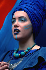 York Mystery Plays Actor (Wilamoyo) Tags: yorkmysteryplays2018 peopleportrait girl woman actress playactor makeup beauty feminine garment outfit blue