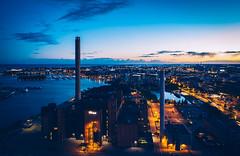Hanasaari (miemo) Tags: dji europe finland mavic2 mavic2pro aerial autumn city drone dusk evening hanasaari helsinki kruununhaka merihaka night outdoor powerplant sky tower uusimaa fi