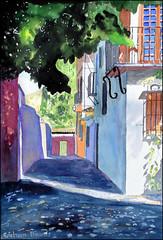 The Alhambra, Granada, watercolour: at the side of Hotel America (Dr Graham Beards) Tags: albaicin andalucia alhambra spain granada painting moorish watercolor watercolour