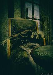 Left Behind (larisalyn (Rachel)) Tags: skeleton old creepy cobwebs chair halloween bones poorhealthcare horror haunted house