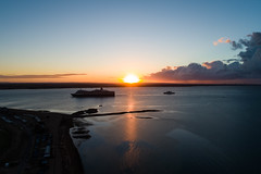 queen elizabeth and red funnel at sunrise passing calshot (thephantomzone2018) Tags: queen elizabeth red funnel sunrise passing calshot 2 thephantomzone2018 drone phantom p4p dji