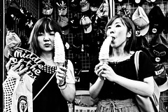 Ice Cream....... (Victor Borst) Tags: groen street streetlife streetphotography reallife real realpeople asia asian asians faces face sexy hot ice icecream mono monotone monochrome urban urbanroots urbanjungle blackandwhite bw osaka japan japanese travel travelling tr trip traveling traffic beautiful girl woman lady female girls women ladies fuji fujifilm funny city cityscape citylife xpro2 expression