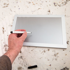 Writing on magnetic board (annick vanderschelden) Tags: wood metal magnetic marker screw plug notes gray mounting four frame lighteffect hand humanhand writing belgium