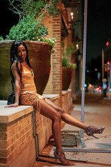 4a (ceruleansnake) Tags: atx austin tx city downtown nightlife night life prostitute woman female portrait pose posing street sitting yellow dress mini skirt legs pretty beautiful long hair shoes 3am color brick
