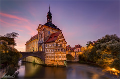 Evening in Bamberg, Germany (AdelheidS Photography) Tags: adelheidsphotography adelheidsmitt adelheidspictures germany bamberg unescoworldheritage deutschland regnitz oldtown townhall altesrathaus bridge bluehour bh clouds evening citylights cityhall canoneos6d irix 15mmwideangle