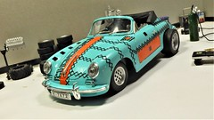1961 Porsche 356B Cabriolet. (ManOfYorkshire) Tags: converted conversion porsche drag car police expolice politzei convertible 356b diecast burago 118 scale repainted modified wheels k7672 workshop diorama garage maintenance tuning fattyres