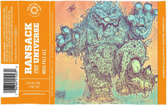 RANSACK THE UNIVERSE by Magge Gagliardi for Collective Arts Brewing (Label_Craft) Tags: beer beers craftbeer brew suds ale hops labels craft labelcraft beerlabel design illustration type fonts burp beerme brewery collectivearts collectiveartsbrewing ransacktheuniverse ipa hoeflerco hco forza vitesse maggegagliardi type:face=vitesse type:face=forza
