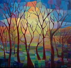 The Sun Sets on Autumn (Kara Michael Freeman Artist) Tags: vibrant sunset painting autumn forest by kara michael freeman