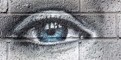 Rough night (A Different Perspective) Tags: australia fremantle perth westernaustralia blue brick detail eye flower mural wall white