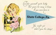 You Might Get What I Gave This Stamp! (Alan Mays) Tags: ephemera postcards pennantpostcards paper printed women postagestamps stamps letters desks chairs pennants banners poems poetry rhymes lucky luck licking lick kisses kiss kissing puns wordplay comic amusing humor humorous funny punningillustrations illustrations blue yellow pink statecollege pa centrecounty pennsylvania antique old vintage typefaces type typography fonts hometown hometownseries postcardseries