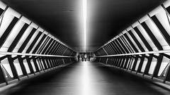 London 11 (0Hammer64) Tags: canarywharf walkway footbridge futuristic monochrome bw blackwhite lines geometric nikon d800 tamron 2470mm architecture