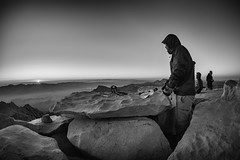 Chilly sunrise (speedcenter2001) Tags: sierranevada sierra sierraphile highsierra sequoianationalpark sequoia nationalpark california wilderness johnmuirtrail jmt mountains altitude elevation hiking backpacking backcountry outdoor mountwhitney summit peak 14505 sunrise morning nikon16mmf35ai manualfocus fisheye d810 monochrome noiretblanc schwarz weiss sep2 silverefexpro2 silverefex edwin sun cold chill