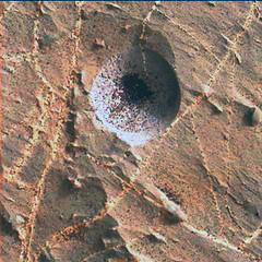 Hole in a Rock, variant (sjrankin) Tags: 2november2018 edited nasa mars msl curiosity galecrater closeup dust sand hole vein lightcolored rocks 2217mh0007060000802957e01dxxx