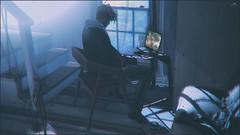 Skip~Those nights... (Skip Staheli *10 YEARS SL PHOTOGRAPHER*) Tags: skipstaheli secondlife sl avatar virtualworld inworld laptop kunsthimmel kunst livingroom home night feelings emotion shadows light blue
