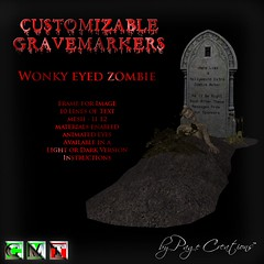 ღ ♡  Gravemarkers - Zombie Lt by Page Creations™ ♡ ღ (Raven Page) Tags: halloween props decor mesh spooky scary fog pumpkins gothic goth