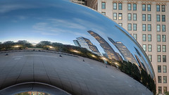 Cloud Gate at Dawn (Moon Man Mike) Tags: october autumn chicago city cloudgate fall ferriswheel mileniumpark pugetsoud reflection seattle skyline sound bean thebean