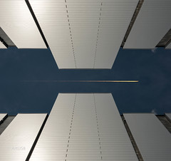 Overflight (ARTUS8) Tags: symmetrie bildkomposition flugzeug fassade digitallycomposed industrie flickr nikon28300mmf3556 modernearchitektur nikond800 lookingup airplane