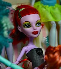 Portrait of a Monster Girl (BKHagar *Kim*) Tags: bkhagar doll operetta monster girl monsterhigh redhead leather bustier custom laces portrait