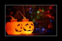 Macro Mondays - TrickOrTreat (frankvanroon) Tags: macromondays trickortreat halloween pumpkin light night scary bokeh hmm mm macro dark