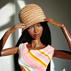 Holding the hat (Deejay Bafaroy) Tags: fashion royalty fr integrity toys doll puppe adele makeda themuse black schwarz portrait porträt wig perücke dress kleid stripes streifen striped gestreift hat hut