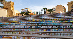 The colorful staircase to the center... (Photostreamkatwijk) Tags: mazaradelvallo italie sicilië mozaïektegels mosaictiles staircase boulevard center holiday eiland tiles holidays outdoorphotography