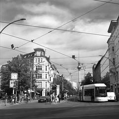 Mitte (csobie) Tags: berlin mitte tvtower tourism germany summer tram streetcar bronicasqa 80mmf28ps yellowfilter mediumformat film scan v600 analog blackandwhite 6x6 120