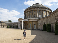 Mariëlle, Suffolk 2018: Grandeur (mdiepraam) Tags: suffolk 2018 ickworth nationaltrust marielle portrait pretty gorgeous attractive mature fiftysomething brunette woman lady milf elegant classy hat scarf dress dome building architecture sky clouds