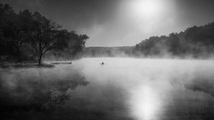 Man in the Mist (jrobfoto.com) Tags: camping coxlake blackandwhite mist sony lake governordodgestatepark a7rii tranquil fishing twitter alpha voigtlander tumblr 500px kayak fog raw sunrise voigtlandernokton40mmf12 fullframe