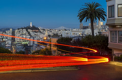 Lombard Street (clarsonx) Tags: sanfrancisco california lombardstreet longexposure lighttrail car night twilight bluehour coittower downtown skyline city cityscape crooked curve
