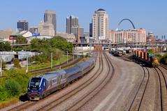 Charging out of Saint Louis (H-bob-omb) Tags: amtrak missouri river runner train 313 siemens charger sc44 locomotive idtx 4621 railroad saint louis gateway arch skyline city