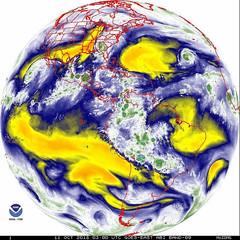 Hurricane Michael Mid-Level Water Vapor (sjrankin) Tags: 11october2018 edited nasa noaa goes goeseast goes16 hurricanemichael gif animatedgif unitedstates southernunitedstates florida gulfofmexico atlanticocean ir infrared midlevelwatervapor band9 globe hemisphere westernhemisphere northamerica southamerica pacificocean africa europe