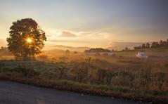 Start to a beautiful day (madre11) Tags: fallinnewhampshire fallcolors fallinnewengland sunrise newhampshire bathnewhampshire bluesky foggymornings hay fields