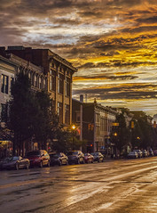 Evening light on Main Street (Bernie Kasper (4 million views)) Tags: art berniekasper d600 family fall historic history buildings indiana jeffersoncounty landscape love madisonindiana mainstreet nature nikon naturephotography new outdoors outdoor old outside photography raw reflection summer sunset sky skyline travel unitedstates usa day camera city street