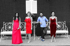 Colorful quartet (riccardolongo1) Tags: photo people friends portrait colours red blu pink magenta outdoor marriage wedding smile turkey europe asia ankara love man woman elegant class classy lovely world