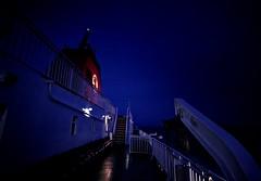 CalMac Deck (matthewblackwood10) Tags: cal mac calmat boat ferry ship ocean liner cruise deck night dark light lights reflection sea scotland arran west coast sail sailing funnel railing stairs