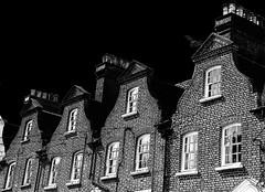 Dutch gables (Snapshooter46) Tags: dutchgable terracedhouses parkroad tring architecture windows brickwork chimneys monochrome blackandwhite photosketch
